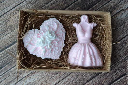 Мыло ручной работы. Ярмарка Мастеров - ручная работа. Купить Набор мыла Модница. Handmade. Бледно-розовый, платье, сердце