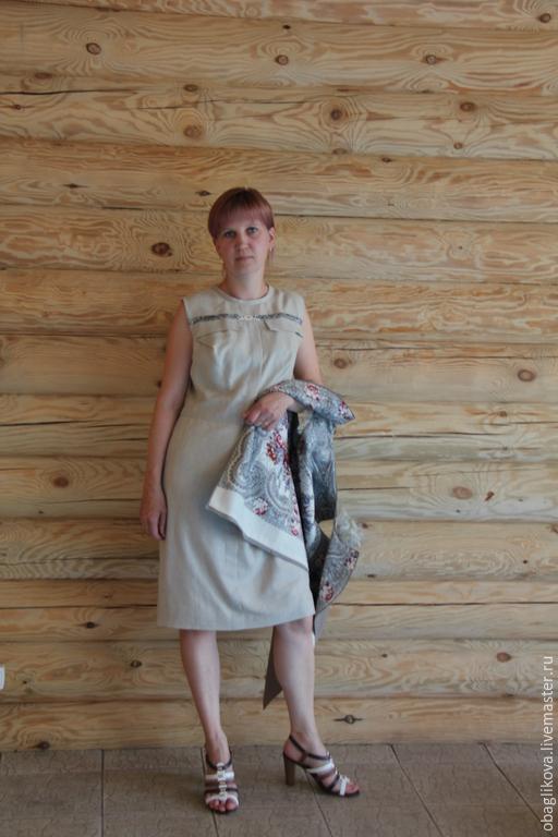 """Платья ручной работы. Ярмарка Мастеров - ручная работа. Купить платье""""Русские мотивы. Handmade. Бежевый, дизайнерская одежда"""
