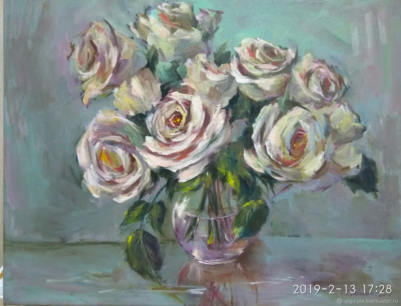 Белые розы картина маслом, Картины, Калининград,  Фото №1