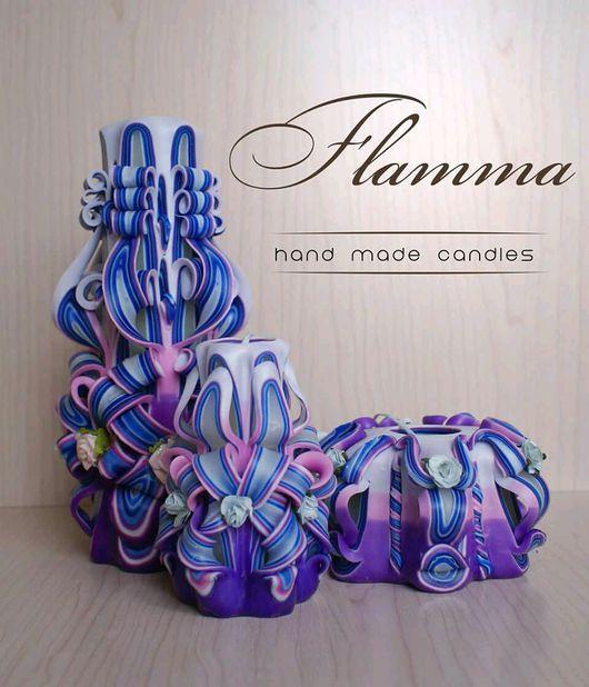 """Свечи ручной работы. Ярмарка Мастеров - ручная работа. Купить Коллекция """"Весенняя"""" от Flamma (20 см). Handmade. резные свечи"""