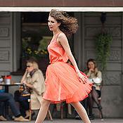 """Одежда ручной работы. Ярмарка Мастеров - ручная работа Юбка-пачка """"Пион"""" неоновый рыжий. Handmade."""