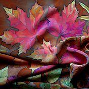 """Аксессуары ручной работы. Ярмарка Мастеров - ручная работа Платок батик """"Осенние листья"""". Handmade."""
