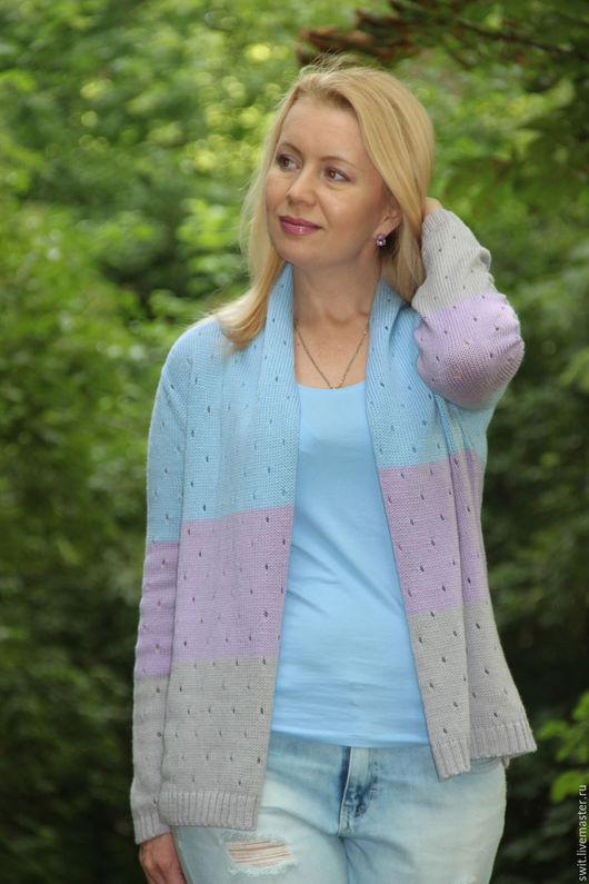 """Кофты и свитера ручной работы. Ярмарка Мастеров - ручная работа. Купить Кардиган """"Холодная пастель"""". Handmade. Комбинированный, удобная одежда"""