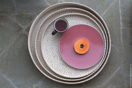 Кухня ручной работы. Ярмарка Мастеров - ручная работа. Купить Сет из 3-х ротанговых подносов.. Handmade. Бежевый