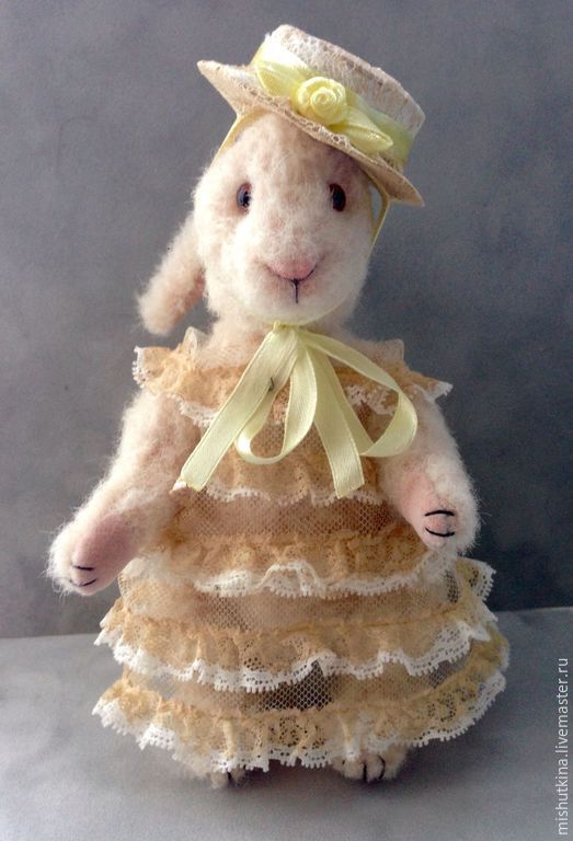 Мишки Тедди ручной работы. Ярмарка Мастеров - ручная работа. Купить Зайка в шляпке. Handmade. Белый, мишка тедди, шерсть
