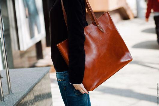 Женские сумки ручной работы. Ярмарка Мастеров - ручная работа. Купить Сумка женская из натуральной, глянцевой, рыжей  кожи. Handmade.