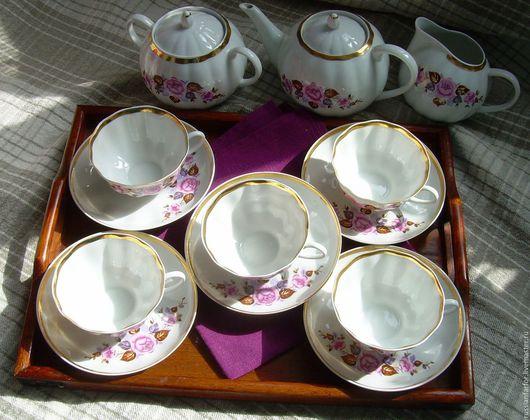 Винтажная посуда. Ярмарка Мастеров - ручная работа. Купить Винтаж Дулево Сервиз чайный на 5 персон. Handmade. Фарфор, бордо