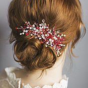 Свадебный салон handmade. Livemaster - original item Red wedding sprig as a decoration in the bride`s hairstyle. Handmade.
