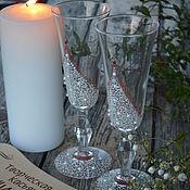 """Свадебный салон ручной работы. Ярмарка Мастеров - ручная работа свадебные бокалы """" Расписные кружева"""". Handmade."""