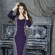Одежда ручной работы. Ярмарка Мастеров - ручная работа 046: Скидка!!! вечернее платье футляр из джерси, платье футляр кружево. Handmade.