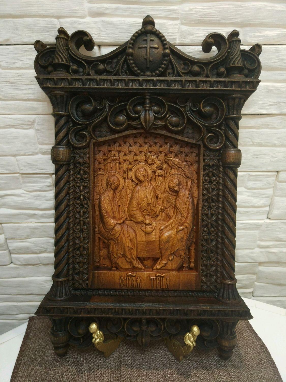 Резная икона в рамке Святая Троица, Иконы, Заволжье,  Фото №1