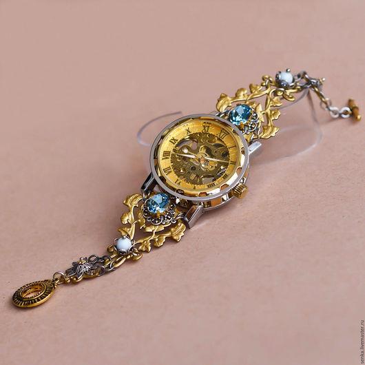 """Часы ручной работы. Ярмарка Мастеров - ручная работа. Купить Часы-скелетоны наручные  """"Leontia"""". Handmade. Золотой, часы-скелетоны"""