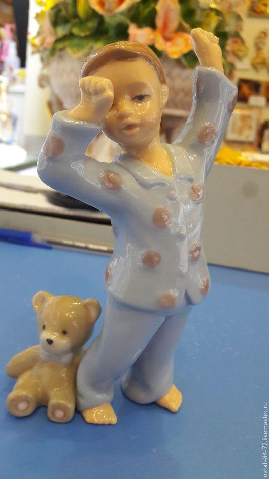 Статуэтки ручной работы. Ярмарка Мастеров - ручная работа. Купить Мальчик с мишкой.. Handmade. Комбинированный, шебби-шик