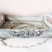Подносы ручной работы. Ярмарка Мастеров - ручная работа Поднос в винтажном стиле, деревянный поднос, стиль прованс. Handmade.