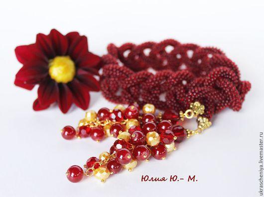 """Лариаты ручной работы. Ярмарка Мастеров - ручная работа. Купить Лариат """"Lady in Red"""", жгут из бисера, красное колье, красный цвет. Handmade."""