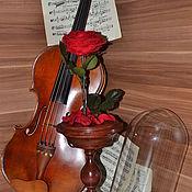 """Цветы и флористика ручной работы. Ярмарка Мастеров - ручная работа Розамелия """"Музыка сердца"""" красная на высокой подставке. Handmade."""