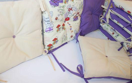 Детская ручной работы. Ярмарка Мастеров - ручная работа. Купить Бортики-подушки в детскую кроватку. Handmade. Фиолетовый, бортики-подушки