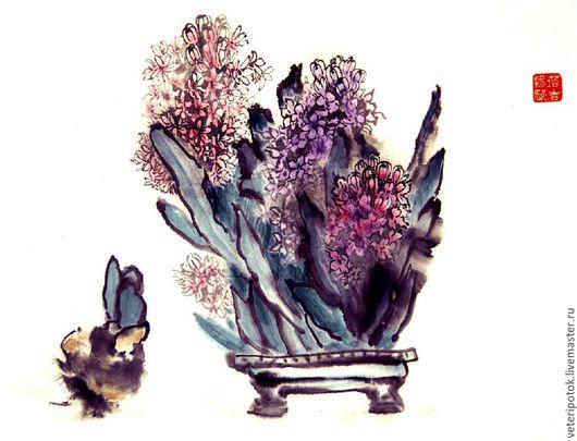 Картины цветов ручной работы. Ярмарка Мастеров - ручная работа. Купить Картина на рисовой бумаге Гиацинты. Handmade. Китайская живопись