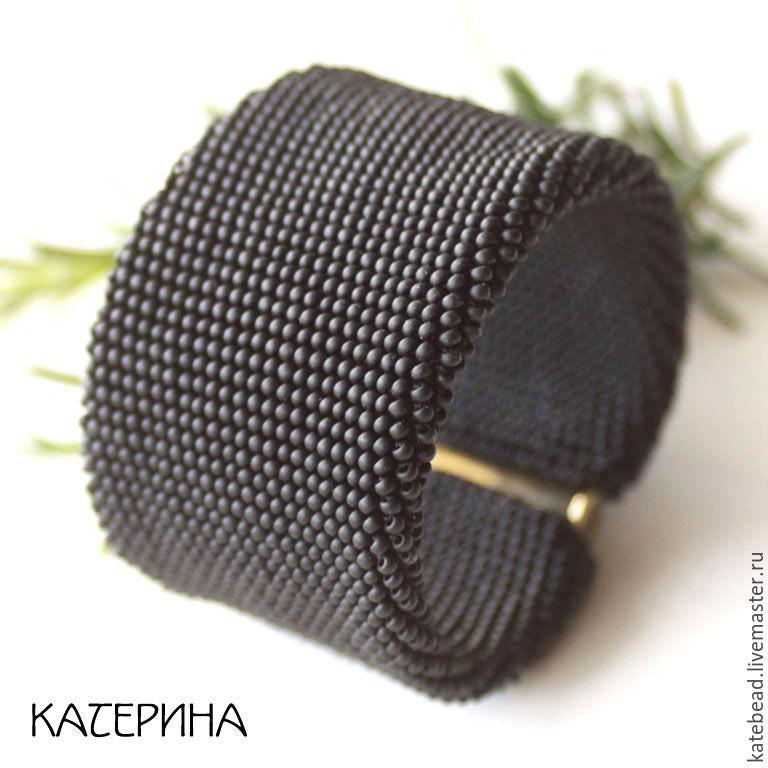 Браслет «Черный», широкий черный браслет, Браслет-манжета, Москва,  Фото №1
