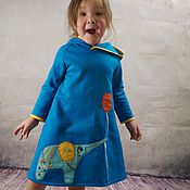 Работы для детей, ручной работы. Ярмарка Мастеров - ручная работа Ярко-синее трикотажное платье. Handmade.