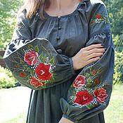 """Одежда handmade. Livemaster - original item Платье из хлопка с ручной вышивкой """"Пленительные розы"""" вышитое платье. Handmade."""
