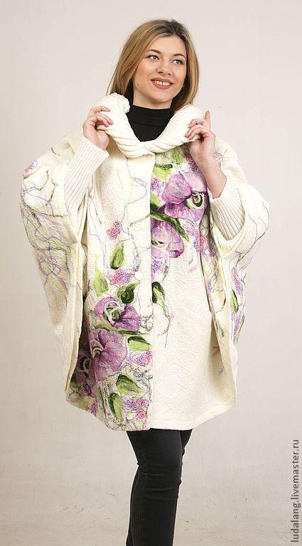 Верхняя одежда ручной работы. Ярмарка Мастеров - ручная работа. Купить Пончо Осенний сон. Handmade. Белый, валяное пальто