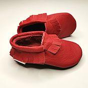 Одежда детская handmade. Livemaster - original item Red Baby Moccasins, Leather Baby Shoes, Red Moccs, Baby Leather Moccs. Handmade.