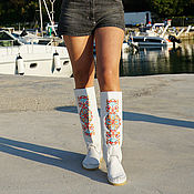Обувь ручной работы handmade. Livemaster - original item Summer leather boots DESIDERIO (white) 38 in the presence of. Handmade.