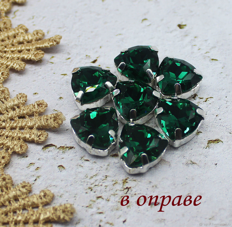 Premium Trillian 12 mm Emerald rhinestones in grey and gold. rims, Rhinestones, Solikamsk,  Фото №1