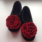 """Обувь ручной работы. Ярмарка Мастеров - ручная работа Тапочки валяные """"Красная роза"""". Handmade."""