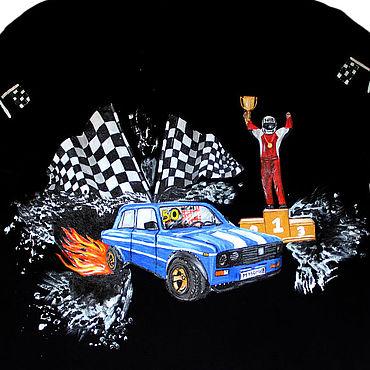Clothing handmade. Livemaster - original item T-shirt with racing car and racer hand painted. Handmade.