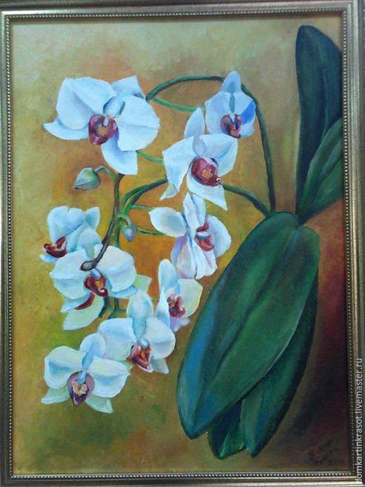 """Картины цветов ручной работы. Ярмарка Мастеров - ручная работа. Купить Картина маслом """"Орхидея"""". Handmade. Оранжевый, картина маслом"""