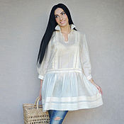 """Одежда handmade. Livemaster - original item Стильная блуза из батиста """"Ваниль"""" длинная туника оверсайз. Handmade."""