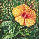 Картины цветов ручной работы. Ярмарка Мастеров - ручная работа. Купить Жёлтый гибискус. Handmade. Цветок, картина, пуантилизм, разноцветный