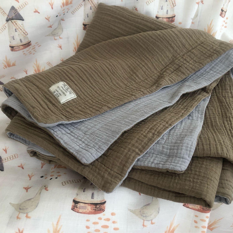 Одеяло муслиновое 100*120 см, Одеяло для детей, Москва,  Фото №1
