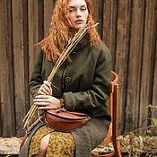 Одежда ручной работы. Ярмарка Мастеров - ручная работа Болотно-зелёное пальто из шерстяного сукна с отделкой, реглан, стойка. Handmade.