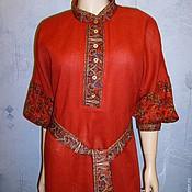 Одежда handmade. Livemaster - original item Dress linen and pavlogoradsky scarves(red). Handmade.