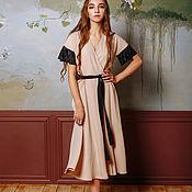 Одежда ручной работы. Ярмарка Мастеров - ручная работа Платье с запахом, юбкой солнце и рукавами плиссе. Handmade.