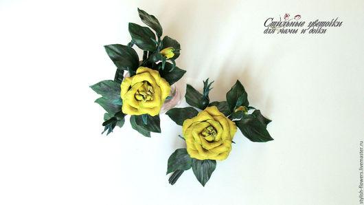 Комплект брошь и браслет из кожи желтые розы. Ярмарка мастеров - ручная работа. Купить комплект брошь и браслет из кожи `Дивный сад`.