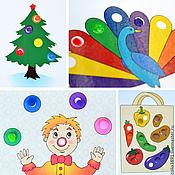 """Куклы и игрушки ручной работы. Ярмарка Мастеров - ручная работа """"Заплатки"""" набор карточек для игр с помпонами, пуговицами и красками. Handmade."""