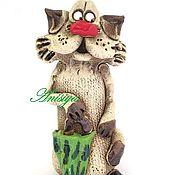 Для дома и интерьера ручной работы. Ярмарка Мастеров - ручная работа Керамическая фигурка кота Фигурки животных Коты. Handmade.