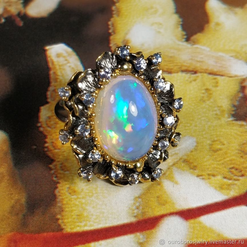 Ring with natural Ethiopian opal 'GORGON', Rings, Novosibirsk,  Фото №1