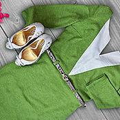 Одежда ручной работы. Ярмарка Мастеров - ручная работа Платье сочно-зеленое из полушерстяного трикотажа. Handmade.