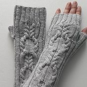 Аксессуары handmade. Livemaster - original item 167 long fingerless gloves, light grey. Handmade.