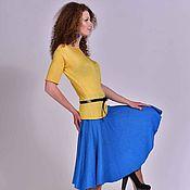 Одежда ручной работы. Ярмарка Мастеров - ручная работа Вязаная юбка SIMONETTA, связать на заказ  синий цвет  юбки  юбка солн. Handmade.