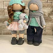 Тыквоголовка ручной работы. Ярмарка Мастеров - ручная работа Текстильная кукла ручной работы пара. Handmade.