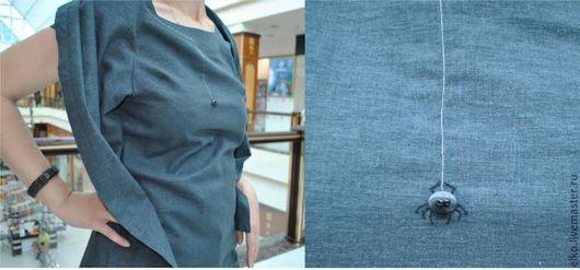 """Платья ручной работы. Ярмарка Мастеров - ручная работа. Купить """"Не смахните паучка"""". Летнее оригинальное льняное платье-туника. Handmade."""