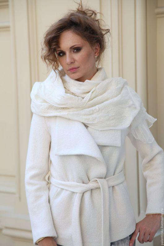 Шарфы и шарфики ручной работы. Ярмарка Мастеров - ручная работа. Купить Палантин шарф белый из шелка и шерсти. Handmade.