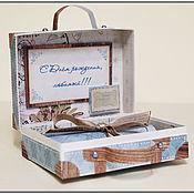 Открытки ручной работы. Ярмарка Мастеров - ручная работа Открытка чемоданчик мужской. Handmade.