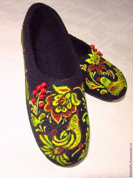"""Обувь ручной работы. Ярмарка Мастеров - ручная работа. Купить """"Хохлома"""".  Валяные тапочки. Handmade. Желтый, валяные тапочки"""